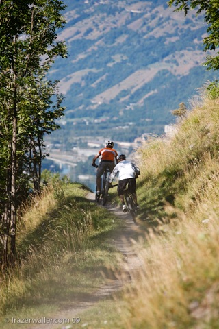 dropping towards Bourg st Maurice during a mountain biking holiday in the Alps